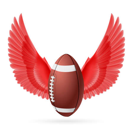 rugger: Realistic ball for American football with red wings emblem Illustration