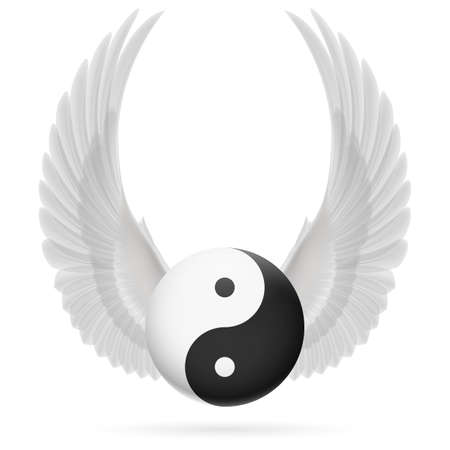 energy balance: Traditional Chinese Yin-Yang symbol with raised up white wings