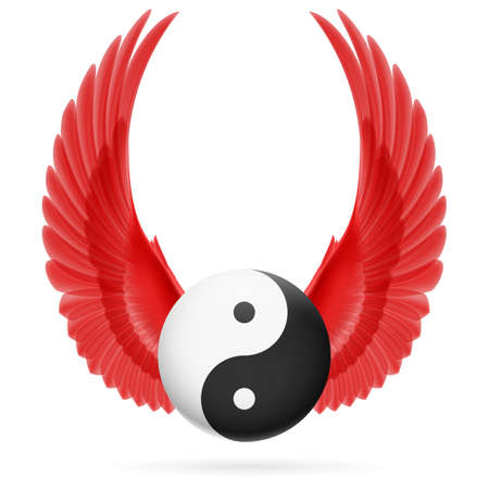 Traditional Chinese Yin-Yang symbol with raised up red wings