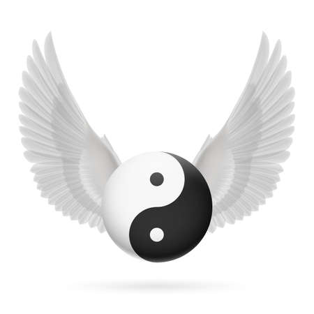 energy balance: Traditional Chinese Yin-Yang symbol with white wings
