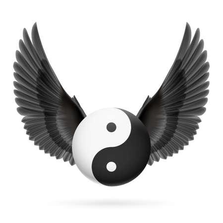 tai chi: Traditional Chinese Yin-Yang symbol with black wings