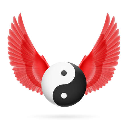 chinese philosophy: Traditional Chinese Yin-Yang symbol with red wings