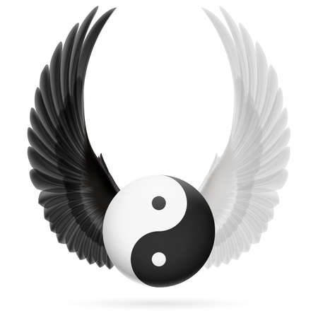 philosophical: Traditional Chinese Yin-Yang symbol with raised up black and white wings