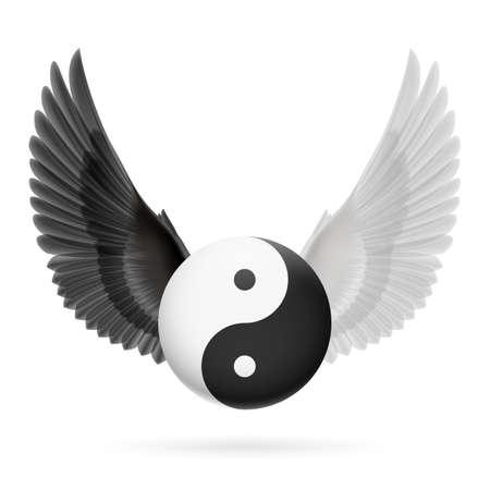 어두워: 검은 색과 흰색 날개를 가진 전통 중국어 음과 양 기호 일러스트
