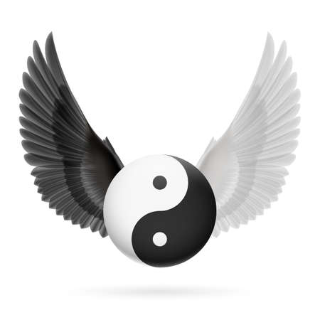 dark angel: Traditional Chinese Yin-Yang symbol with black and white wings