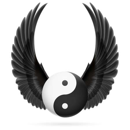 Traditional Chinese Yin-Yang symbol with raised up black wings