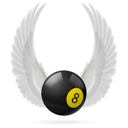 bola ocho: Alas blancas con bola de billar negro sobre el fondo blanco