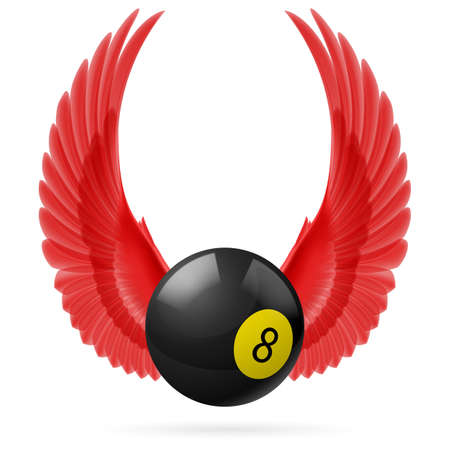 Red wings with  black billiard ball on  white background Vector
