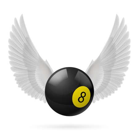 bola ocho: Alas blancas con bola de billar negro sobre fondo blanco