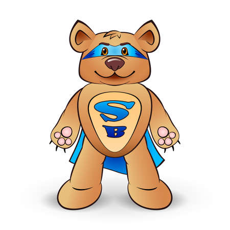 cartoon warrior: Super bear dressed in a blue cloak with the letters S and B  standing on white background Illustration