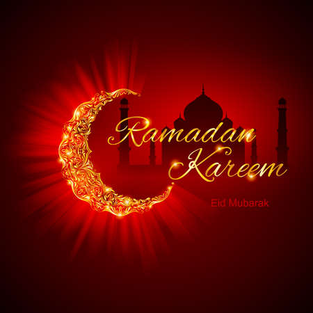 festive occasions: Glowing Crescent Moon by Taj-Mahal in brilliant golden shades on dark red background. Greeting card of holy Muslim month Ramadan