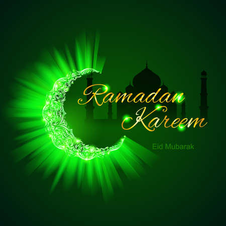 Glowing ornate crescent with bright flare in brilliant emerald shades. Greeting card of holy Muslim month Ramadan Vector