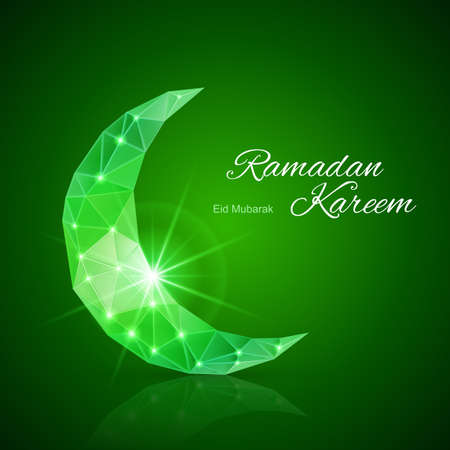 Glowing ornate crescent with bright flare and radiance in emerald shades. Greeting card of holy Muslim month Ramadan Vector