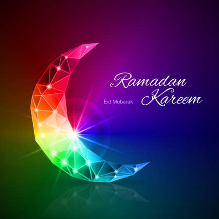 islam moon: Ornate Crescent in rainbow shades. Greeting card of holy Muslim month Ramadan