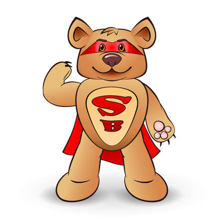 bear s: Super bear dressed in a red cloak with the letters S and B  standing on white background Illustration