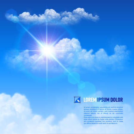 Brilliant blue sky with bright Sun, space for your text