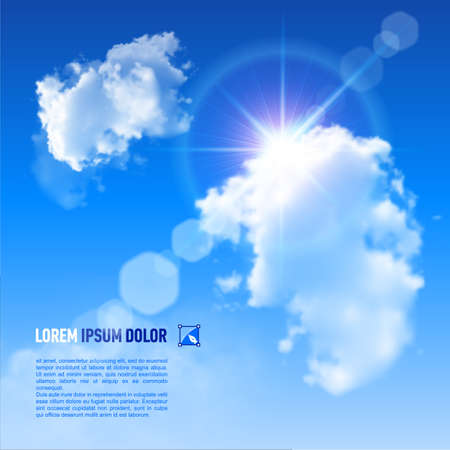 Blue Sky with fluffy clouds and brilliant Sun with a rainbow flare, vector image  Illustration