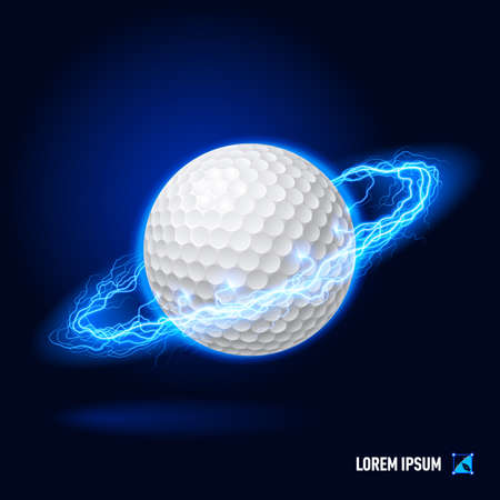 blue flame: Realistic golf ball in blue flashes and lighting circle