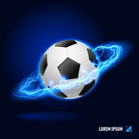 Realistic soccer ball in blue flashes and lighting circle