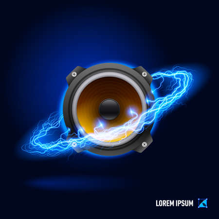 speaker icon: Acoustic speaker in blue flashes and lighting circle