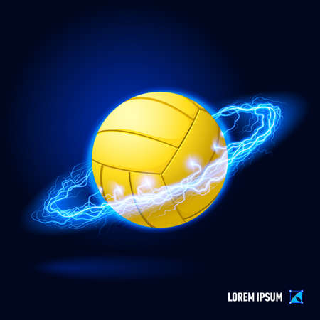 Realistic volley ball in blue flashes and lighting circle