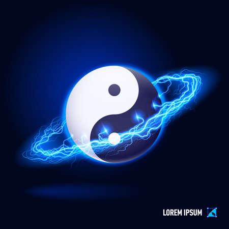 Tradizionale simbolo cinese Yin Yang in lampi blu e illuminazione cerchio Archivio Fotografico - 29856143