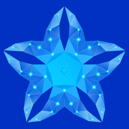 five petals: Polygonal geometric constellation in form flower with five petals on blue  background