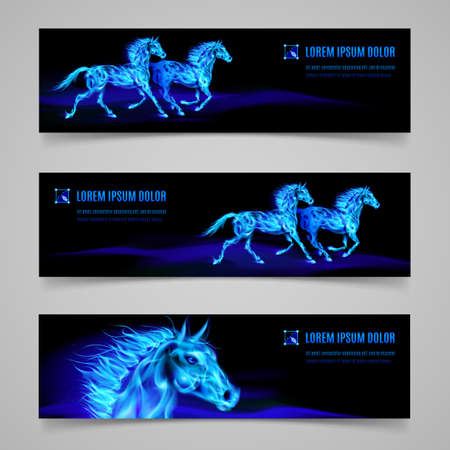 blue flame: Set of banners with horses in blue flame