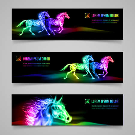 Set of banners with horses in multicolored flame Illustration