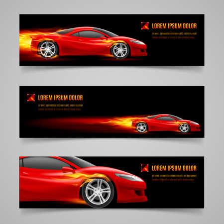 flammes: Ensemble de banni�res avec la voiture de course dans la flamme d'orange