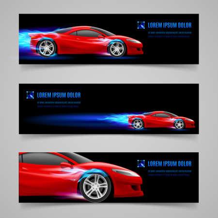 motor coche: Conjunto de banderas con el coche de carreras de la llama azul