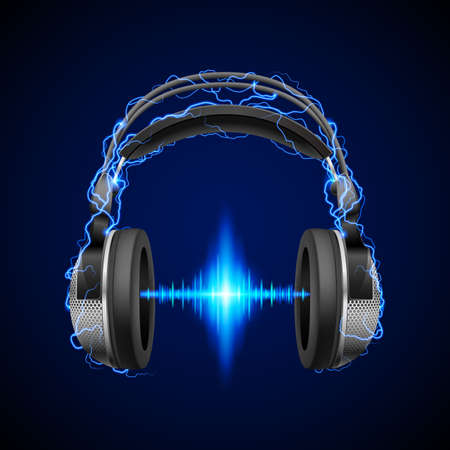 equalizer: Headphones in blue flashes and lighting with luminous equalizer line Illustration