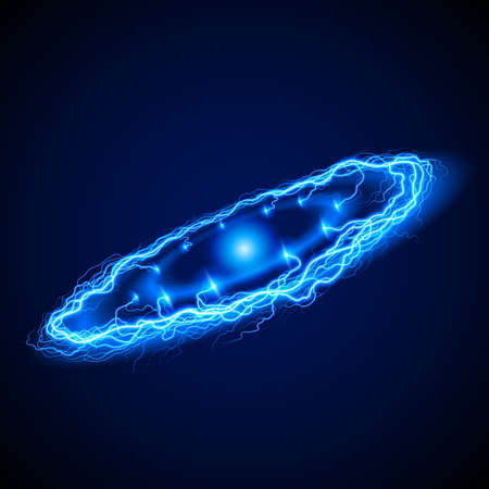 lightening: Anillo Potente aligeramiento en tonos azules sobre fondo oscuro con brillo en el centro Vectores