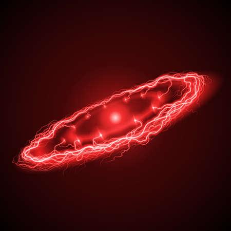 lightening: Aligeramiento anillo de gran alcance en intensos tonos rojos sobre fondo oscuro con la chispa brillante en el centro