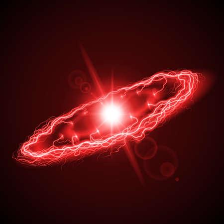 lightening: Aligeramiento anillo de gran alcance, en tonos rojos sobre fondo oscuro con la chispa brillante en el centro