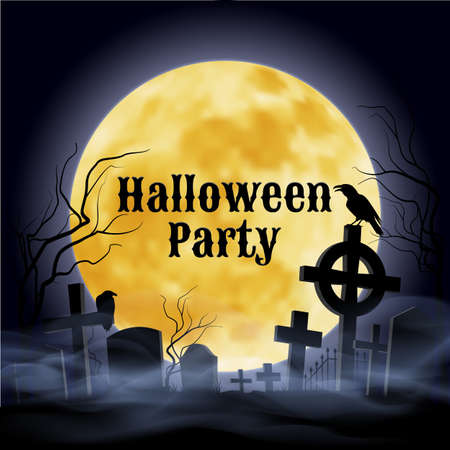 crooked: Misty graveyard with crooked  crosses and an evil  raven under full Moon. Halloween Party poster in Gothic style.