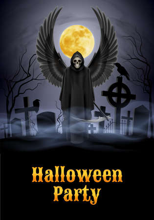 Halloween party illustration- silhouette of black scary scytheman with wings  standing on ancient necropolis with crosses over gray sky and yellow moon