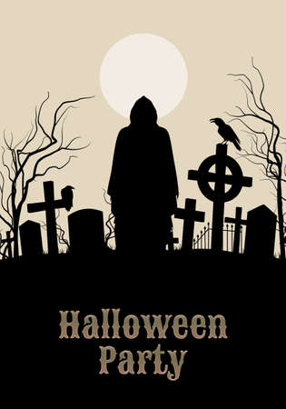 Spooky graveyard on the Halloween Night in sepia with silhouette of the Grim Ripper. Welcome to Halloween Party poster in Gothic style.