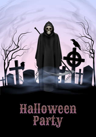 Halloween party illustration- silhouette of black scary scytheman   standing on ancient necropolis with crosses over gray sky