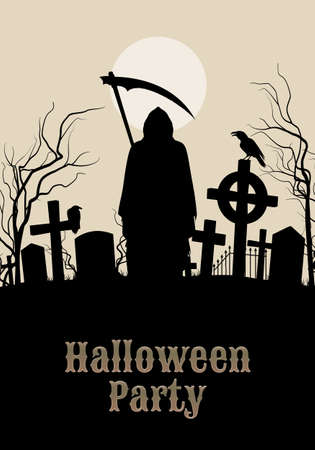 Halloween party illustration- silhouette of black scary scytheman standing on ancient necropolis with crosses over gray sky and white moon Vector