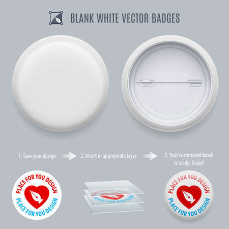 plain button: Blank White Badges with place for your text isolated on gray background Illustration
