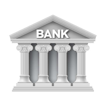 pillar: Stone building of bank with four columns Illustration