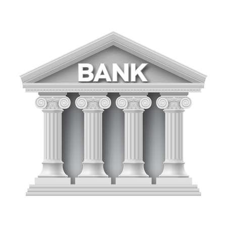 roman pillar: Stone building of bank with four columns Illustration