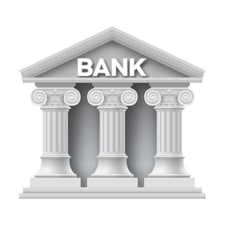 Kamienny budynek banku z trzema kolumnami Ilustracje wektorowe