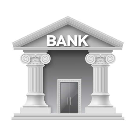 bank building: Stone building of bank with two columns Illustration