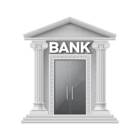 4 door: Stone building of bank with two thin columns