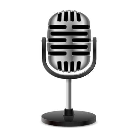 chrome base: Il metallo d'argento d'epoca retr� isolato microfono. Vettoriali