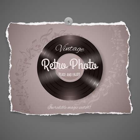 bakelite: Vintage Vinyl Music Ilustration on peace of old photo paper,part of Vintage Photo Series Illustration