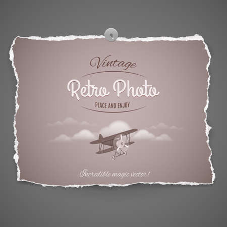 biplane: Vintage Airplane Ilustration on peace of old photo paper,part of Vintage Retro Photo Series