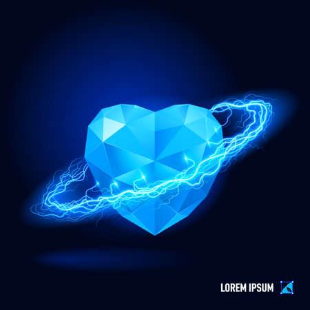 coeur diamant: Blue diamond en forme de coeur entouré par un flux d'énergie bleue dans l'espace